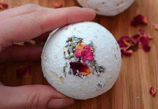 dry rose bath bomb
